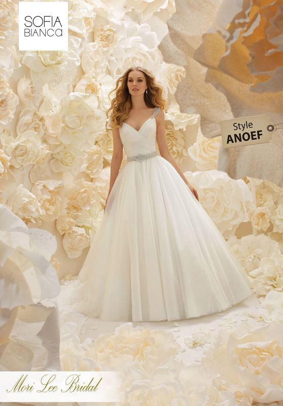 Style ANOEF A RUCHED TULLE BODICE ON A SOFT TULLE BALL GOWN WITH CRYSTAL BEADED STRAPS AND MATCHING WAISTBAND     COLOURS WHITE / SILVER OR IVORY / SILVER