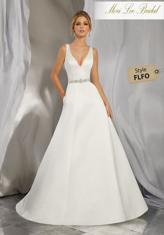 Style FLFO Morena Wedding Dress  Classic and Timeless, This Duchess Satin Slim A-Line Gown Features a Deep-V Neckline and Open Back. A Removable Diamanté Encrusted Satin Belt, Also Sold Separately as Style NXOFY, Completes the Look. Colors Available: White, Ivory.