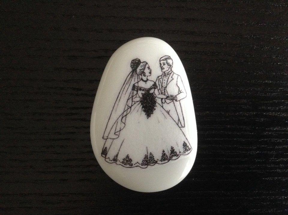 Imagem dos noivos a preto e branco