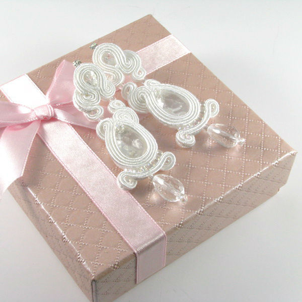 Małgorzata Sowa - PiLLow Design, Biżuteria ślubna sutasz. Klasyczne kolczyki ślubne - kryształ górski, kryształy Swarovski, srebro