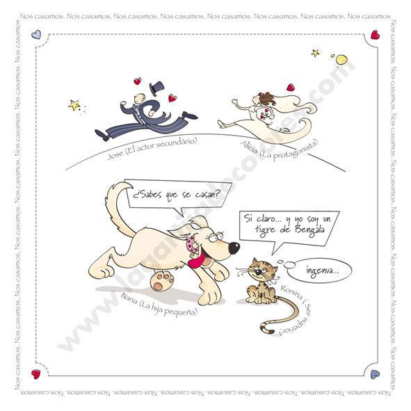 Perro y gato anuncian la boda