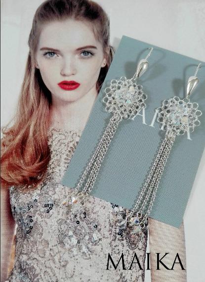 Aretes de plata con tejido a crochet en plata ley 999 y cristales de swarovski elements. Cristales importados.