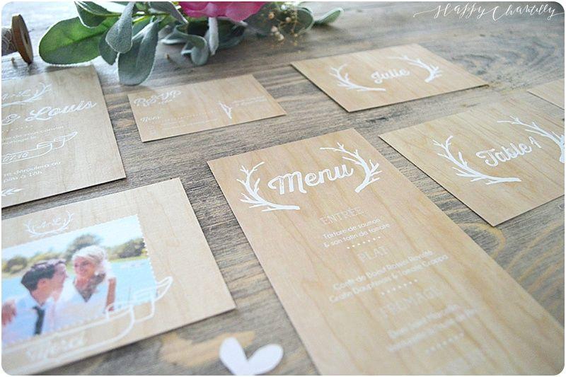 Faire-part mariage bois champêtre Moderne et rustique Happy Chantilly