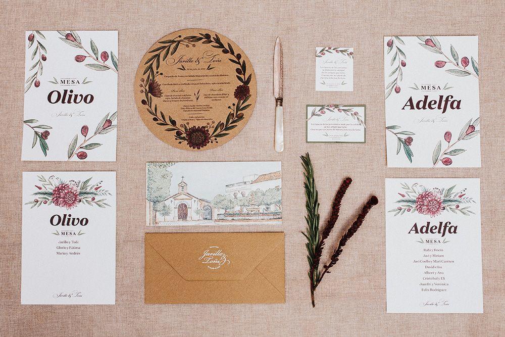 Papelería para una 'boda en el pueblo'. Con aires toscanos y un toque rústico, pero ante todo elegante. (Trabajo para Sí! Quiero Wedding Artist)