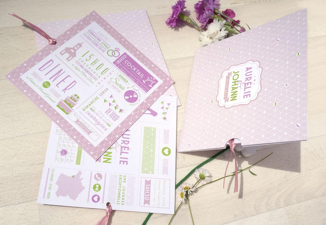 Faire-part Thème rose et vert rétro Mademoiselle Créa