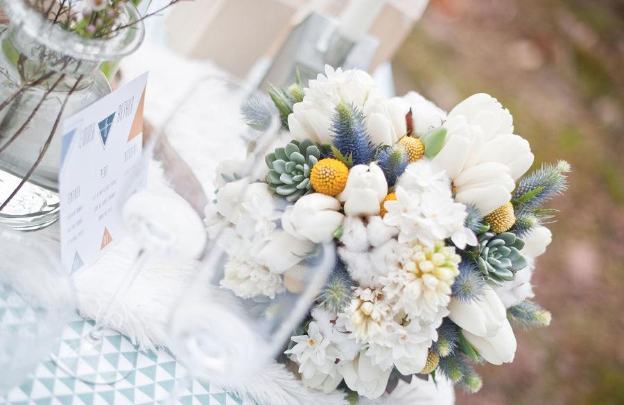 Mariage Hiver Scandinave   Crédits : Dessine-moi une étoile (Design et Papeterie ) - Aude Rose (Fleurs) - Anna Images (Photos)