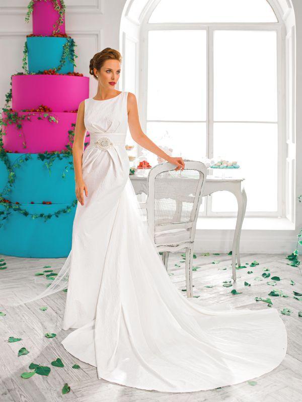 Элегантное свадебное платье-трансформер из жакарда от Helen Miller