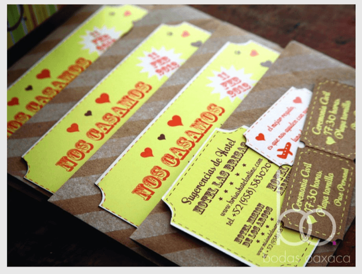 Diseño de invitaciones de boda temática circo. Bodas Oaxaca.