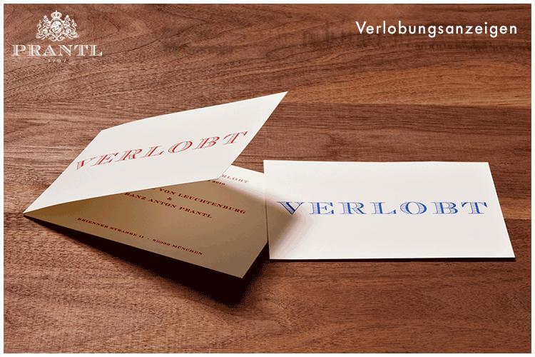 Beispiel: Verlobungskarte, Foto: Prantl Online Shop.