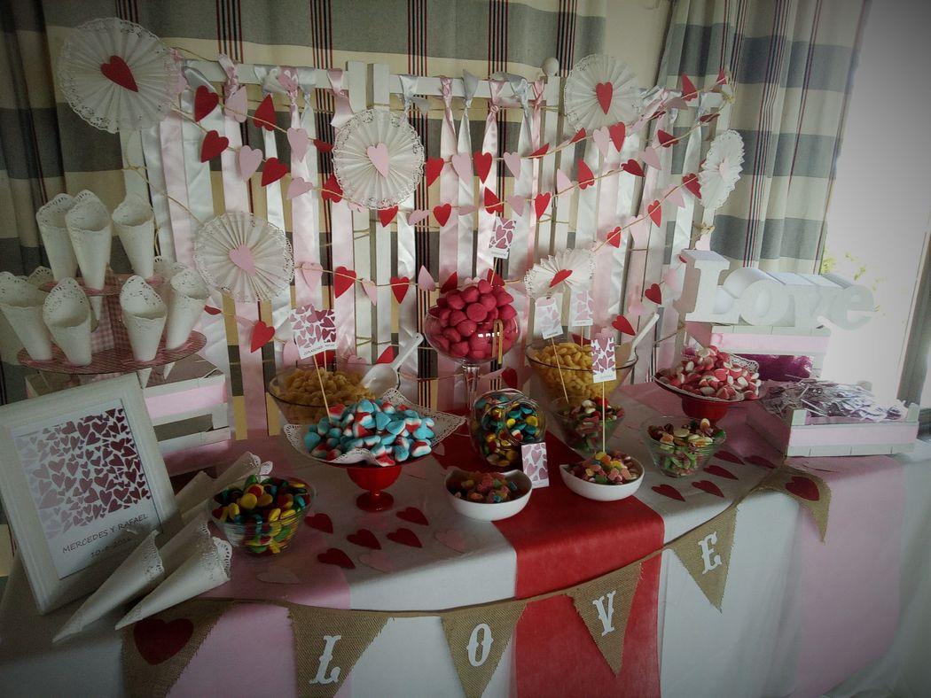 Mesa dulce corazones