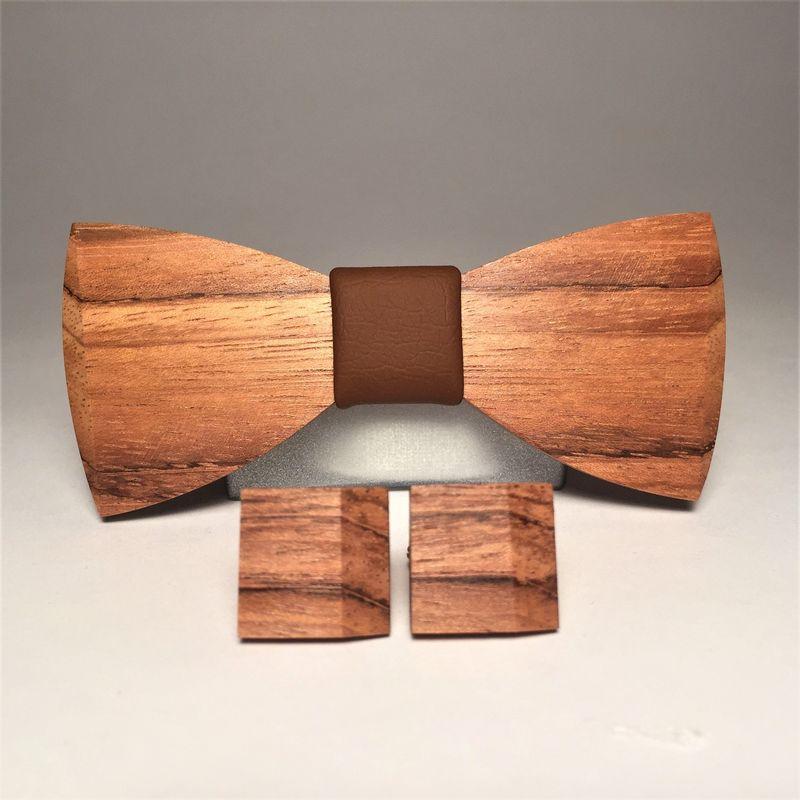 Drewniana muszka i spinki do mankietów MARACHIC. Drewniany komplet MATT BROWN