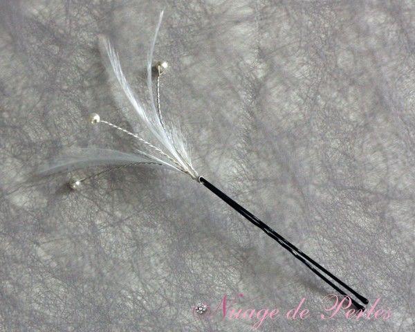 Pic à cheveux pour la mariée en plumes