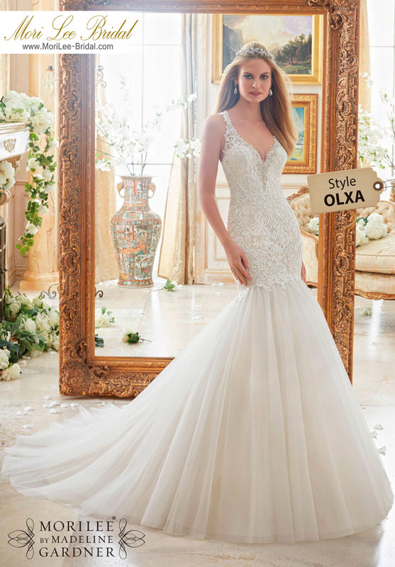 Dress style OLXA  CRYSTAL BEADED EDGING MEETS EMBROIDERED APPLIQUES ON TULLE  Colors Available: White/Silver, Ivory/Silver, Champagne/Silver