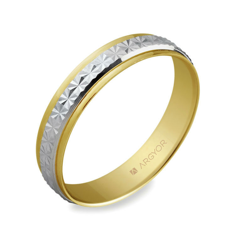 Alianza de boda bicolor de oro blanco y amarillo 18k