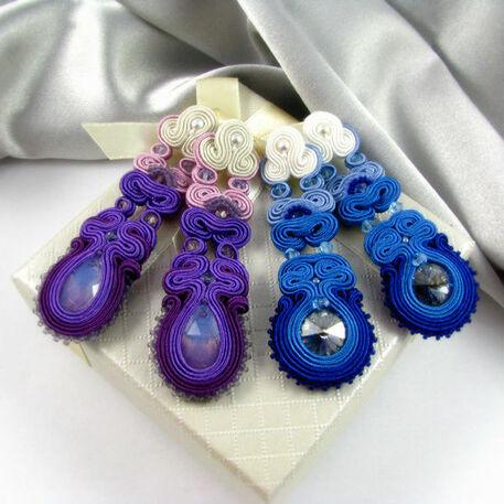 Małgorzata Sowa - PiLLow Design, Biżuteria ślubna sutasz. Kolczyki cieniowane - kryształy Swarovski, srebro