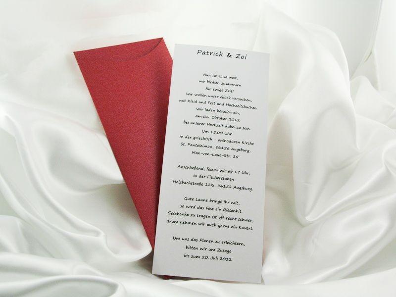 Beispiel: Einladung Rot, Foto: Giorti.
