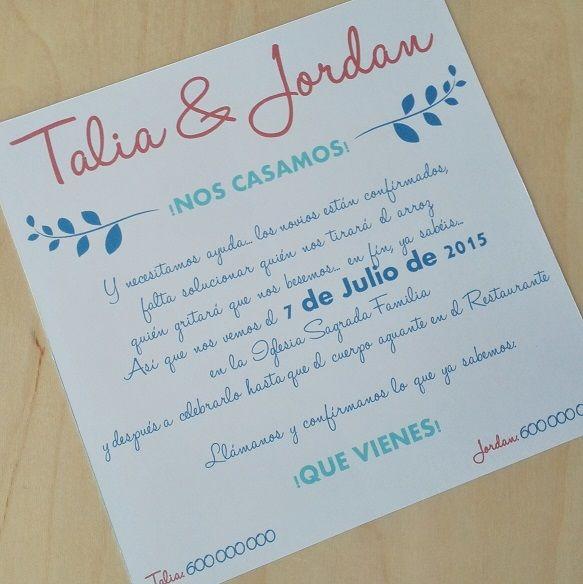 Invitación de Boda Motivo: Flores Color: Azul y Rosa
