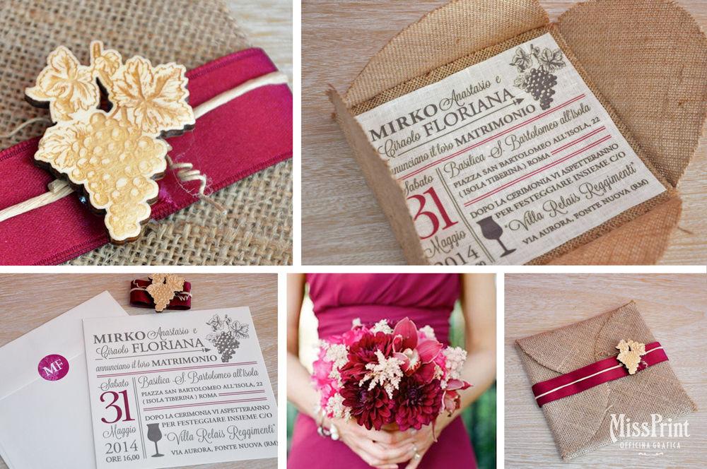 Partecipazione Wine flower stampata su stoffa