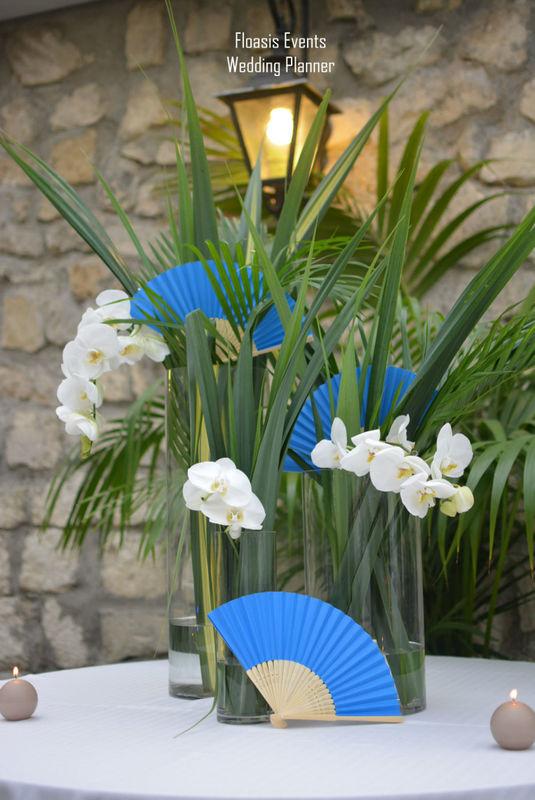 Mariage exotique en bleu et blanc - Floasis Events wedding planner