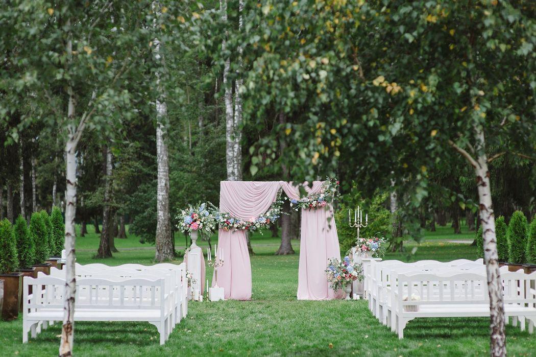 Выездная церемония на свадьбе Александра и Ольги в стиле