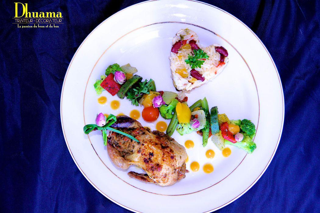 Caille farcie au foie gras, légumes caramélisés et riz exotic / Dhuama traiteur africain