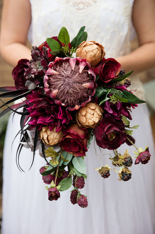 trailing marsala protea artificial bouquet