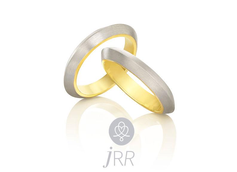 Alianças Encontro em ouro branco e ouro amarelo