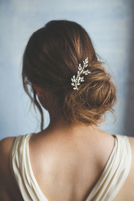Fermaglio per capelli con motivo a foglia - spilla gioiello | Elibre Handmade