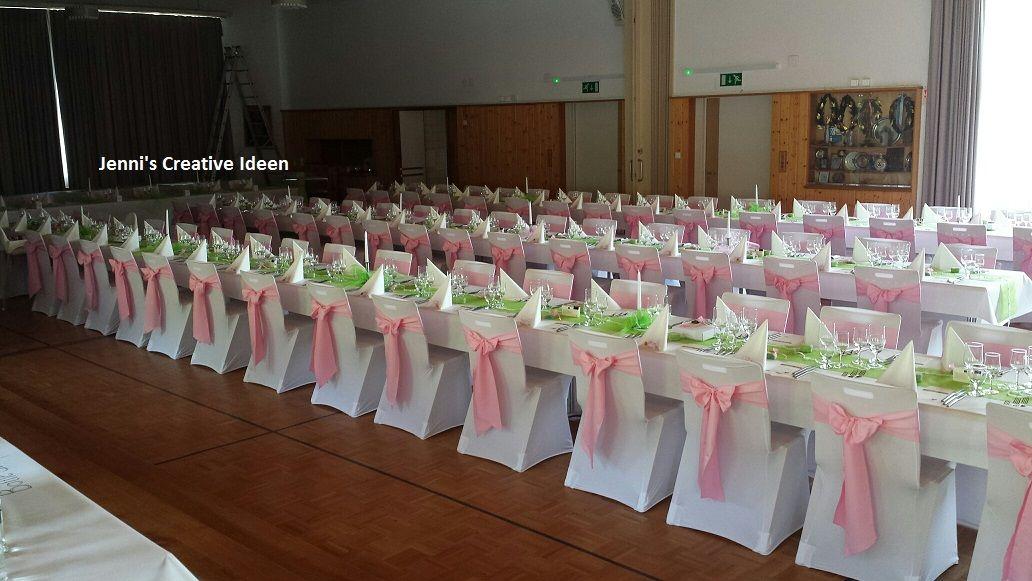 Alles rosa, Stuhlhussen mit rosa Satinschleifen Foto Jenni's Creative Ideen
