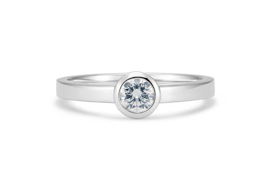 Solitaire Nova - Or blanc palladié & Diamant éthique du Botswana
