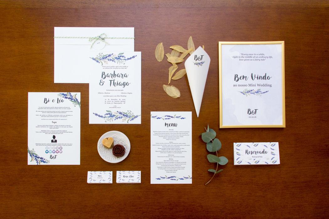 Convite Raminhos de Lavanda - Babi e Thiago