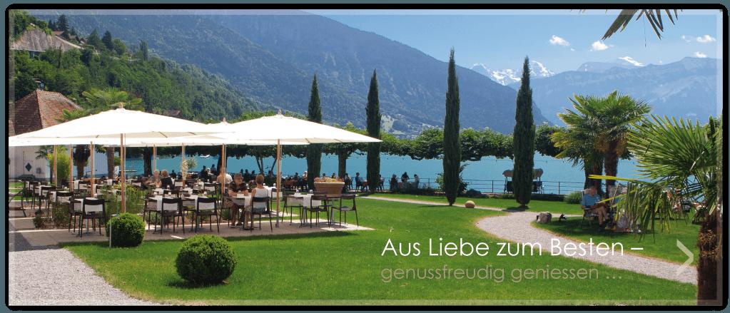 Beispiel: Terrasse und Garten am See, Foto: Parkhotel Gunten.