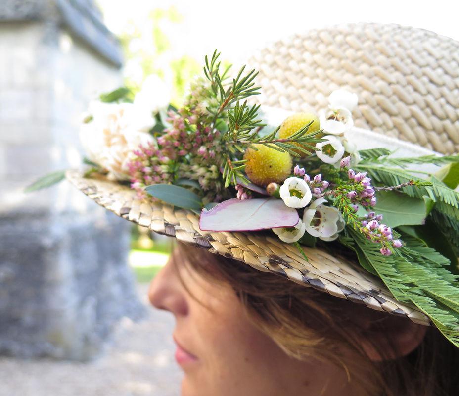 Herbes Fauves - Chapeau de paille fleuri et bohème