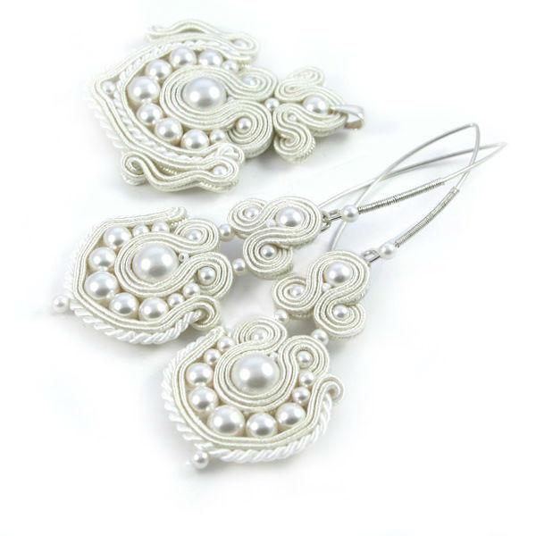 Małgorzata Sowa - PiLLow Design, Komplet ślubna sutasz. Ażurowy, dwustronny komplet ślubny - perły Swarovski, sutasz, srebro