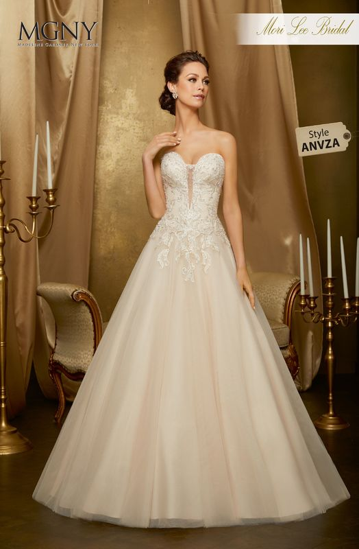 Style ANVZA Oceana  Sculptured appliqués with crystal and diamanté beading on a tulle ball gown