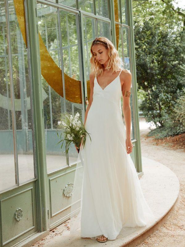 KATY - Robe de mariée longue simple et intemporelle - Myphilosophy Paris