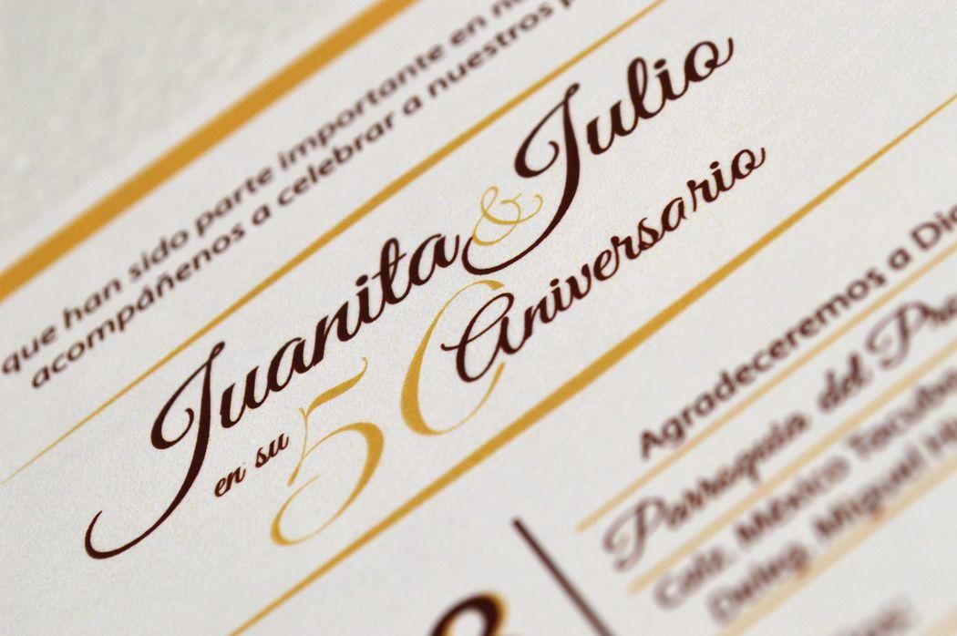 Detalle Interno Invitación Aniversario Bodas de Oro Tema Raíces