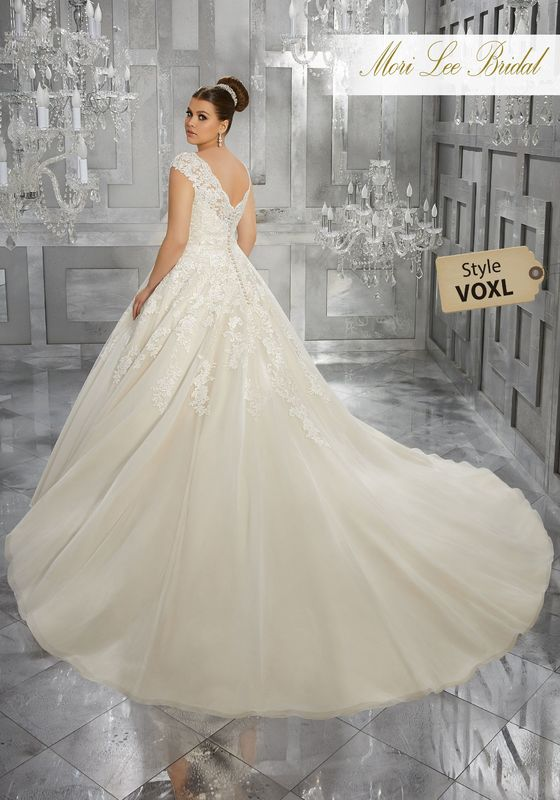 Style VOXL Moiselle Wedding Dress  Breathtaking and Timeless, this Tulle Bridal Ball Gown Features Frosted, Embroidered Appliqués and an Off-the-Shoulder V-Neckline with Cap Sleeves. Colors Available: White, Ivory, Ivory/Light Gold.
