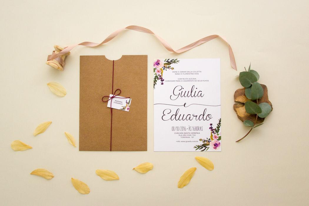 Convite Floral Rústico - Giulia e Eduardo