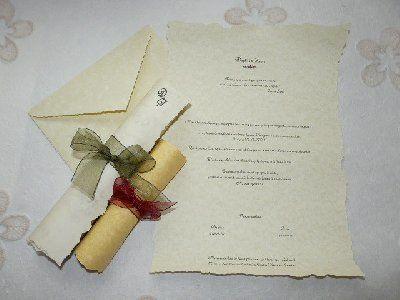 La cigüeña de papel, invitaciones de pergamino