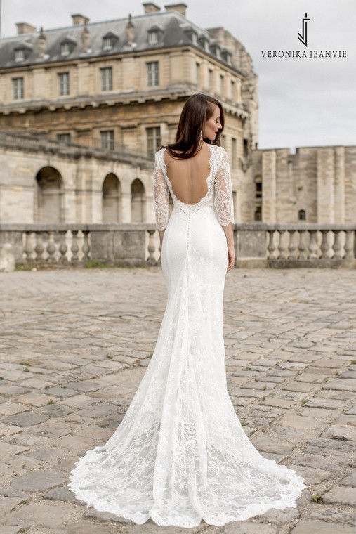 Robe de mariée sirène dentelle traine | Collection 2017 | Veronika Jeanvie