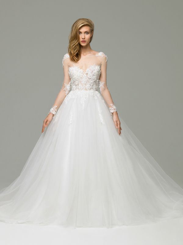 Пышное свадебное платье с прозрачным верхом и длинными рукавами от Helen Miller