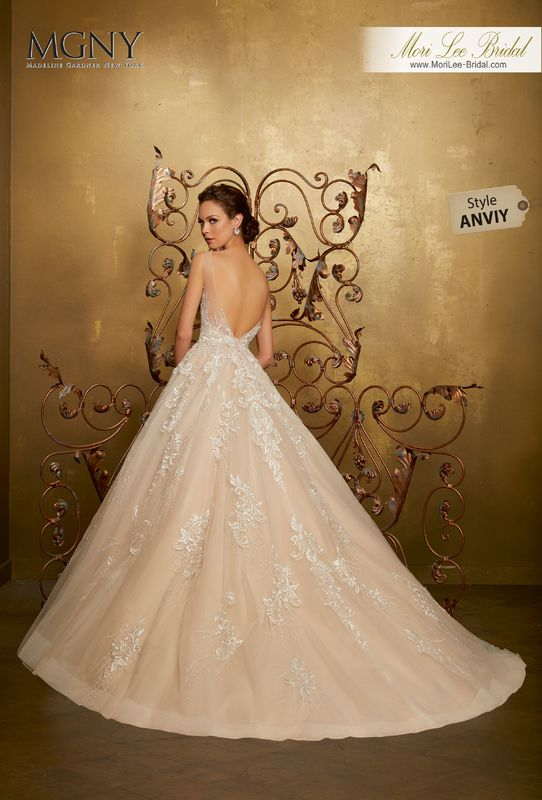 Style ANVIY Oliana  Diamanté and crystal beaded, sculptured embroidery on a tulle ball gown